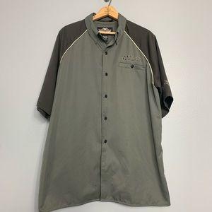 HARLEY DAVIDSON | embroidered back button front L
